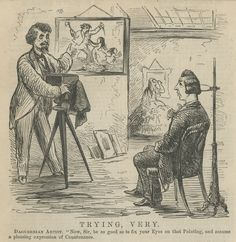 """This cartoon from an 1859 Harpers Weekly shows a photographer posing a man in a head rest. Like many 19th century jokes it seems a bit lame. The photographer instructs him to look at a painting of a murder on the wall and assume a """"pleasing expression"""". The finished photograph would surely make it to the fake post mortem Pinterest boards! Not only is his head """"held up"""" by a posing stand but he must have a """"strange stare"""" which the """"he must be dead!"""" crew sees as a sure sign of death."""