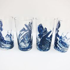 Set of 4 Blue Glitch Art Screen Printed Juice Glasses by MadelineSteimleArt
