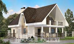 125-001-Л Проект двухэтажного дома мансардный этаж, недорогой коттедж из газосиликатных блоков