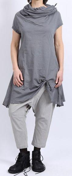 rundholz - Shirttunika mit großem Kragen smoked grey - Sommer 2016 - stilecht - mode für frauen mit format...
