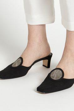 Vintage 90s Black Pointed Toe Mule Heels with Geometric Circle Detail / VAUXSHOP.COM