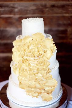 Tiered Wedding Cake With Cascading Yellow Sugar Flowers Mod Wedding, Farm Wedding, Wedding Cake, Wedding Bells, Dream Wedding, Peach Flowers, Sugar Flowers, Cascading Flowers, Wedding Collage