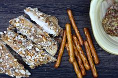 Well…Hello. Today, I made Mustard-y Pretzel Crusted Chicken. Whoa…Nelly! This recipe was sooooooo good. For non-FODMAPs simply use regular pretzels, I used gluten free Snyder's p…