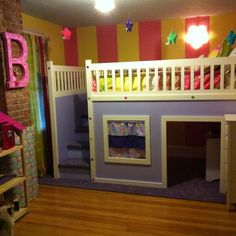 Cute DIY dollhouse bunk bed with storage in the steps and plenty of room for toys inside. 2013 TOH Dont Buy It, DIY It! Contest. | thisoldhouse.com/yourTOH
