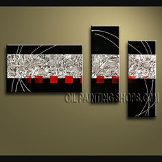 Amazing Modern Abstract Painting Oil Painting On Canvas Gallery Stretched Abstract. This 3 panels canvas wall art is hand painted by V.Chua, instock - $137. To see more, visit OilPaintingShops.com