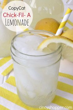 This CopyCat Chick-Fil-A Lemonade Recipe was perfect for this warm weather we have had this past week. Lemonade is one of those drinks that I crave most of the summer. The kids love dropping into Chick-Fil-A for a sandwich and lemonade all summer long. Refreshing Drinks, Summer Drinks, Fun Drinks, Healthy Drinks, Beverages, Healthy Food, Mixed Drinks, Nutrition Drinks, Healthy Recipes