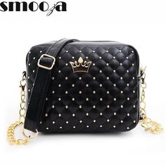 [Visit to Buy] 2017 Women Bag Fashion Women Messenger Bags Rivet Chain Shoulder Bag High Quality PU Leather Crossbody Quiled Crown bags Chain Shoulder Bag, Crossbody Shoulder Bag, Shoulder Handbags, Leather Crossbody Bag, Leather Shoulder Bag, Leather Handbags, Shoulder Bags, Crossbody Bags, Leather Bags
