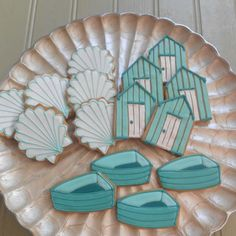 Scallop Shells, Beach Huts and Rowing Boat biscuits for Liz Earle