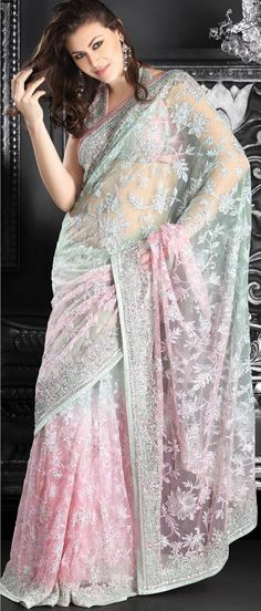 Off #White Net #Saree with #Blouse