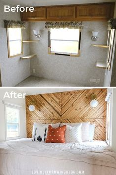 She shares her exact process for renovating a small RV bedroom. These super simp. She shares her exact process for renovating a small RV bedroom. These super simple small bedroom decor ideas are SO GOOD! Pinning these RV bedroom remodel ideas for later! Diys Room Decor, Bedroom Decor, Decor Ideas, Modern Bedroom, Bedroom Ideas, Contemporary Bedroom, Master Bedroom, Bedroom Storage, Bedroom Designs