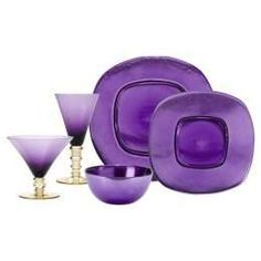 who says the holidays have to be red and green or blue and white? show some imagination with metallic glass tableware in eye-popping purple. Purple Home, Purple Lilac, Purple Glass, Shades Of Purple, Deep Purple, All Things Purple, Purple Stuff, Or Violet, Purple Kitchen