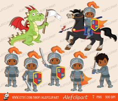 Knight and Dragon. Clipart Set/ African American, Multicultural. by Alefclipart on Etsy https://www.etsy.com/uk/listing/457844704/knight-and-dragon-clipart-set-african