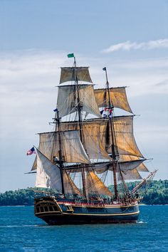 Tall Ship Bounty leaving Halifax Harbour during the Parade of Sail in July 2012, ending Tall Ships 2012. Bounty was lost in Hurricane Sandy. Two died in the sinking; the captain's was never found and the body of a woman crewmember, related to the original HMS Bounty's Fletcher Christian, was recovered. Bounty was built in Lunenberg, Nova Scotia for the movie Mutiny on the Bounty.