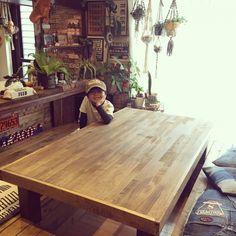 Mackeyさんの、机,インスタmackey2480,男前化計画,DIY,アメリカンビンテージ,アメリカン,RC九州支部,しゃれとんしゃあ会,小上がり,掘りごたつ,のお部屋写真