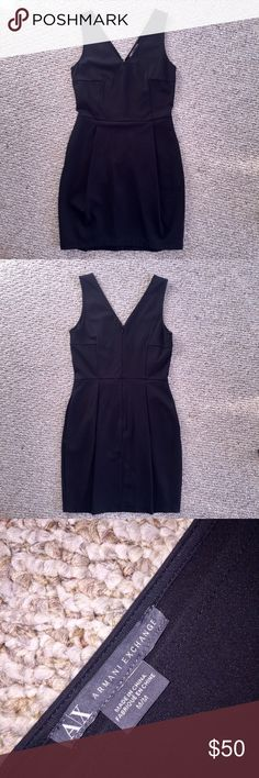 Armani Exchange Black Bubble Dress with Pockets Fun black v-neck dress by Armani Exchange. Flattering slight bubble shape, pockets in waist area, good stretch to it. Zippered to waist in back. Size M. Gently worn. A/X Armani Exchange Dresses Mini