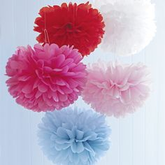 Floating mid-air these delicate and whimsical pom poms create a lovely, serene ambiance. They're perfect for engagement parties, kids' parties, baby showers and kitchen teas or look beautiful as a simple decoration to brighten rooms and hallways. Fun Crafts, Diy And Crafts, Paper Crafts, Burlap Flowers, Paper Flowers, Party Wall Decorations, Brighten Room, Mexican Babies, Birthday Party Design