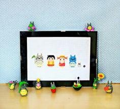 Totoro cross stitch ^^  more photos here:  myblythejulyandme.blogspot.com.es/2015/04/totoro-punto-de...