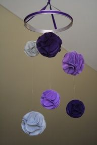 Pom-Pom Baby Mobile- Light Purple, Dark Purple, and Grey Felt Nursery Mobile. $50.00, via Etsy.