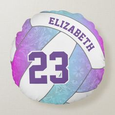 Volleyball Room, Volleyball Workouts, Workouts For Teens, Soft Pillows, Accent Pillows, Round Pillow, Pink Purple, Blue, White Elephant Gifts