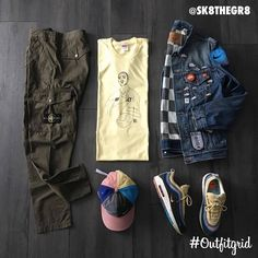 Today's top #outfitgrid is by Sarah Kate. ▫️ #Supreme x #Prodigy #Tee ▫️ #Supreme x #Levis #DenimJacket ▫️ #StoneIsland #Pants ▫️ #Nike x #SeanWotherspoon #AirMax #197 & #Hat