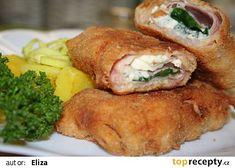 Smažená niva se slaninou a listovým špenátem recept - TopRecepty. Baked Potato, Sandwiches, Pork, Food And Drink, Potatoes, Chicken, Meat, Baking, Breakfast