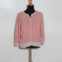 Halogen 3/4 sleeve cardigan Fun coral print Halogen  Sweaters Cardigans