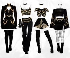 Kpop Fashion Outfits, Stage Outfits, Edgy Outfits, Korean Outfits, Dance Outfits, Girl Outfits, Mode Kpop, Fashion Design Sketches, Aesthetic Clothes