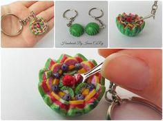 Watermelon fruit salad keychain by SweetIva