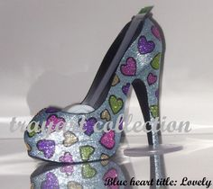 Multi-colored Hearts High Heel Shoe TAPE DISPENSER Stiletto Platform - office supplies - trayart collection. $29.50, via Etsy.