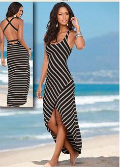 Black & Tan Striped Maxi Dress