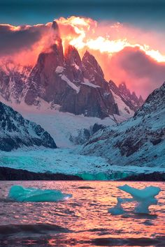 Stunning sunset on Cerro Torre and Laguna Torre, Los Glaciares National Park, Patagonia, Argentina.