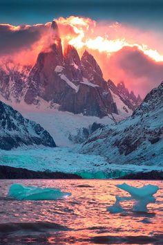 Stunning sunset on Cerro Torre and Laguna Torre, Los Glaciares National Park, Patagonia, Argentina.