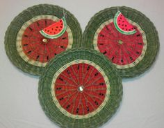3 wicker watermelon paper plate holders great by SunDriedTomatoes, $11.00