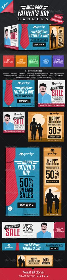 Father's Day Banner Combo - 3 Sets Template PSD   Buy and Download: http://graphicriver.net/item/fathers-day-banner-combo-3-sets/7987828?WT.ac=category_thumb&WT.z_author=doto&ref=ksioks