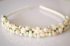 Rosie Ivory rose and champagne pearl bridal wedding hairband by robindu