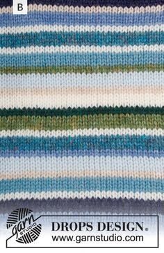 Ravelry: Happy Stripes pattern by DROPS design Drops Design, Knitting Patterns Free, Free Knitting, Handgestrickte Pullover, Magazine Drops, Knitting Gauge, Hand Knitted Sweaters, Garter Stitch, Green And Grey
