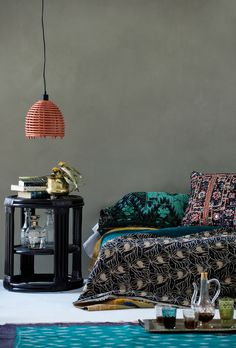 relaxed summer living - new homewares collection kantha quilts, cushions, rattan side tables and pendant lights