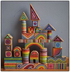 Rainbow Vintage Colourful Wooden Building Blocks- Finished Set