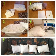 How i transform our old pillows to throw pillows which i needed for our living room!