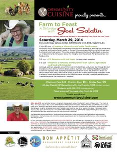 Permanente, CA A Saturday with Joel Salatin. Come and learn how to fully embrace the local integrity food movement. Intuitively, we know we should know more about what we're eating but we're hurried, harried, an… Click flyer for more >>
