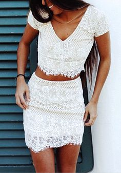 Beauty model in eyelash lace two-piece dress