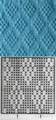 В КОПИЛКУ Просто и эффектно: узор 'ромбы' спицами + кромочная петля Пустой квадратик – лицевая петля Черный кружок – изнаночная петля
