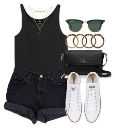 """""""Style #10570"""" by vany-alvarado ❤ liked on Polyvore featuring Monki, Levi's, Kate Spade, Converse, Charlotte Russe, Ray-Ban and Yves Saint Laurent"""