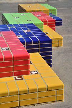 Belmont Preparatory School, Mill Hill.  Glazed bricks in red, blue, yellow & green.
