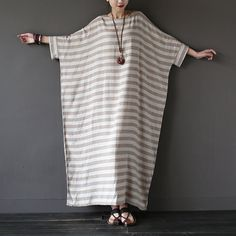 Oversized Loose Fitting Long Maxi Dress, Gown, Oversized Dress, Maternity Clothi… – Linen Dresses For Women Mode Abaya, Mode Hijab, Linen Dresses, Cotton Dresses, Dresses Dresses, Vestidos Vintage Retro, Maxi Robes, Dress Robes, Stripped Dress