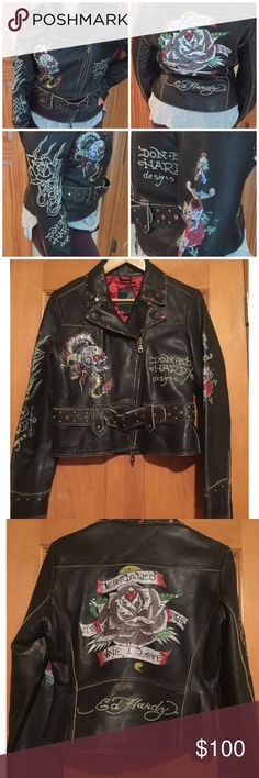 Ed Hardy leather jacket size M. Don-Ed Hardy leather jacket size M. Used a few times. Has a scratch underneath the belt and leather is wearing off from just sitting in my closet. Ed Hardy Jackets & Coats