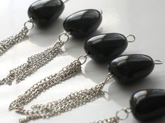 Solid Black Tapered Nugget Beads With Silver Chain by DIYArtMart