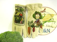 Garden Gloves Hand Painted  Vintage Seed by TheWoodsSecretGarden, $69.00