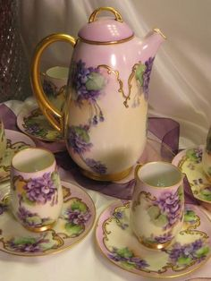 """Victorian Amethyst Violets"" H Royal Bavaria CHOCOLATE COCOA POT w Six (6) Cups and Saucers Antique Chocoliatiere Set Gorgeous HAND PAINTED Violets Fine Vintage Heirloom China Painting Circa 1900"
