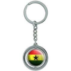 Ghana Flag Soccer Ball Futbol Football Spinning Round Metal Key Chain Keychain Ring, Silver